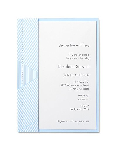 George Stanley Baby Blue Sewn Imprintable Invitation, 10-Count (90401) ()