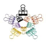 RuiLing 40-Pack Multi-purpose Metal Wire Binder Clip Set,20pcs 2.25 Inch & 20pcs 1.57 Inch Paper Metal Clips,for Home Office Supplier School Accessories - Multicolor