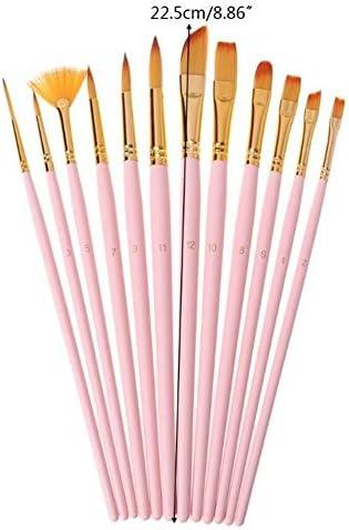 SHENGFU 12PCSブラシファインナイロンヘアラウンドフィルバートエンジェルフラットペイントブラシツールをペイント (Color : Pink)