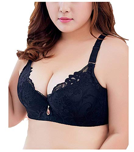 (Women Lace Bra Plus Size Floral Embroidery Lace Everyday Bra Black 36DD)