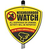 Neighborhood Watch CCTV Surveillance Camera Warning Alarm Yard Sign. DONT FALL VICTIM to thieves and burglars!