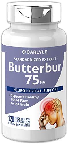 Carlyle Butterbur Standardized Extract 75 mg 120 Capsules – Migraine Headache Formula – Non-GMO, Gluten Free, PA Free ()
