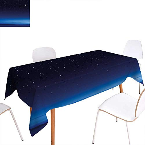 - familytaste Night Printed Tablecloth Moon and Stars Over Santa Barbara Channel Infinity Foggy Pacific Ocean Rectangle Tablecloth 50