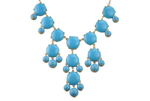 Omnichic Bubble Necklace Statement Wedding Necklace Party Jewelry Beaded Necklace for Women (Necklace Sky Blue Bubble)