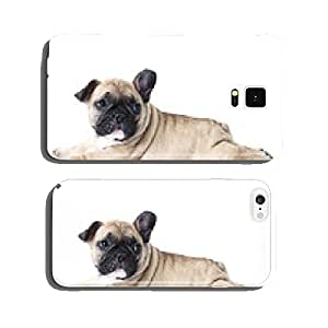 French bulldog puppy lying on white background cell phone cover case Samsung S5
