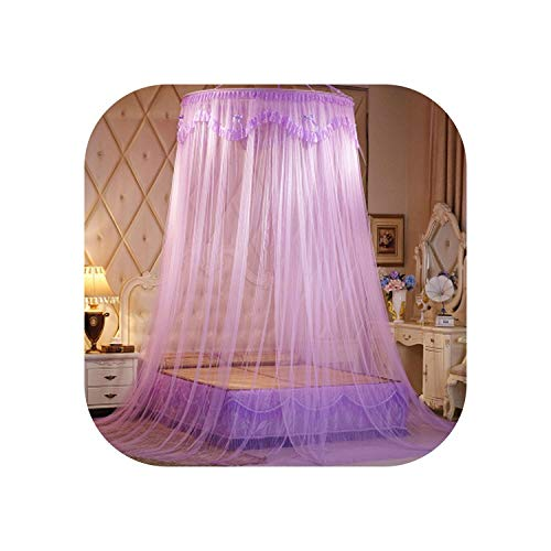 Portable Dome Mosquito Net Hanging Princess Bed Curtain Mesh Double Bed Mosquito Net Lace Bed Tent Adults Canopy Netting,Purple,1.35M (4.5 Feet) Bed ()