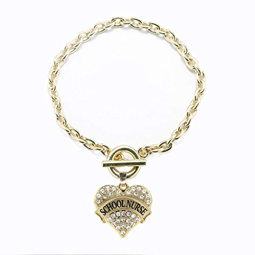 Inspired Silver - School Nurse Toggle Charm Bracelet for Women - Gold Pave Heart Charm Toggle Bracelet with Cubic Zirconia Jewelry