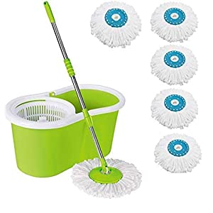 IVRA Easy Magic 360 Degree Floor Mop Bucket with 5 Microfiber Spin Heads (Colour May Vary) (Medium, Green)