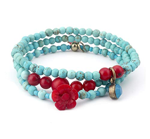 tom+alice Fashion 4MM Round Beads Natural Turquoise Red Coral Beads Cuff Strand Bracelets 3 Wraps Set Crystal Blue Opal