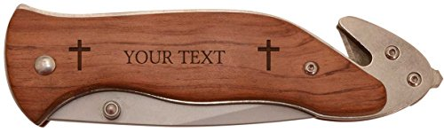 (Custom Any Text with Cross Faith Prayer Gift Personalized Laser Engraved Survival Knife)