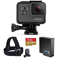 GoPro HERO6 Black - Bundle With GoPro Head Strap + QuickClip, 32GB Micro SDHC U3 Card, and a Spare Gopro Battery