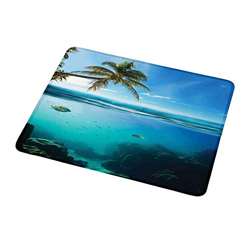 (Mouse Pad Unique Custom Ocean,Tropical Underwater Shot with Surface Coconut Tree and Sky Aqua Water Theme Paradise Image,Turquoise,Mousepad Great for Laptop,Computer 9.8