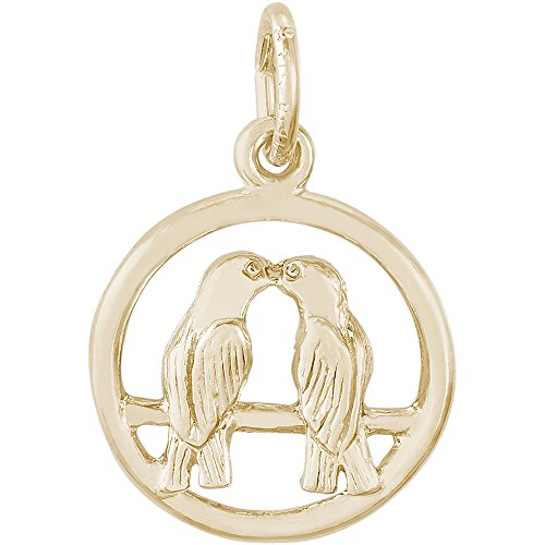 Rembrandt Charms 14K Yellow Gold Love Birds Charm on a 14K Yellow Gold Rope Chain Necklace, (Yellow Gold Bird Charm)