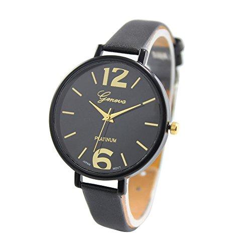Fortan Frauen Faux-Thin-Leder-Band Net Farbe elegante Armbanduhr- Schwarz