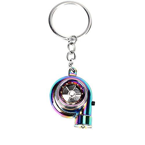 DIYARTS Car Metal Key Chain with LED Lights Sound Turbo Key Sleeve Bearing Spinning Model Turbine Turbo Charger Ring Key Turbo Shaped
