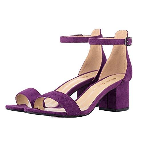 Women's Purple Shoes Strap Sandals Party Heels Low Toe Ankle Bridal 5CM Dress Sandals Open Heeled Velvet Chunky High rTZCqRxrw