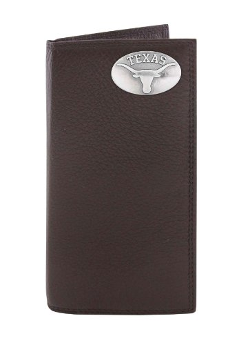 NCAA Texas Longhorns Brown Pebble Grain Leather Roper Concho Wallet, One (Texas Longhorns Pebble Leather)