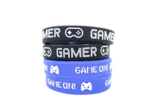 Video Game Party Favor Bands, Gamer Birthday Supplies Goody Bag Kids Teen Tween Size Wrist Bracelets for Boys Girls 24 Pack -