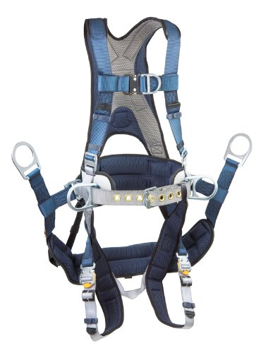 3M DBI-SALA ExoFit 1108657 Tower Climbing Harness, Front/Back/Side D-Rings, Belt/Back Pad, Seat Sling w/Position D-Rings, QC Buckles, X-Large, Blue/Gray -