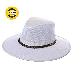 14dccda5a953fa Jeff & Aimy UPF 50+ Crushable Soft Mesh Aussie Breezer Hat Summer Outdoor  Safari Sun Hat Chin Strap Wide Brim