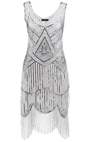 BABEYOND Women's Art Deco V Neck 20s Gastby Fringed Sequin Flapper Dress (Small, (Used Flapper Dress)