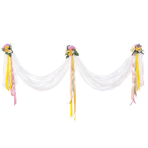 Ling's moment 120 x 60 inches Lace Swag With Artificial Flower Ribbon Bouquet DIY Fabric Wedding Top Table Event Party Decor Stair Bow Valance Table Skirt ()