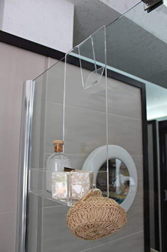 Jabonera de ducha de plexiglás con gancho para toalla y bata - Estante para ducha -
