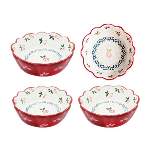 OISII Cherry Porcelain Pie Dish Pan, Round Serving Bowls Set for Cereal, Pasta Fruit Sauce, Dishes for Cooking, Bakeware Set of 4(15oz,Red)