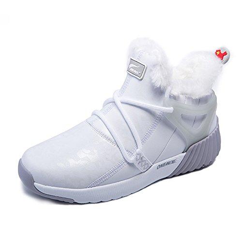 Onemix Nueva Llegada De Los Hombres Y Las Mujeres De Piel Forrada De Invierno Botas De Nieve Tobillo Deportivo Zapatillas Greywhite