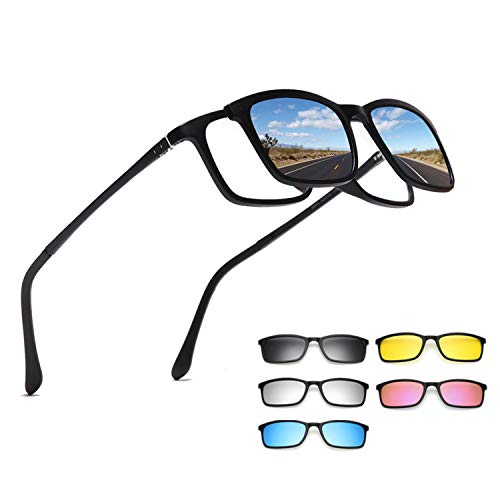Sunglasses Men Women 5 In 1 Magnetic Clip On Glasses,1 Frame 5 Gray Clips,Shiny Black Frame