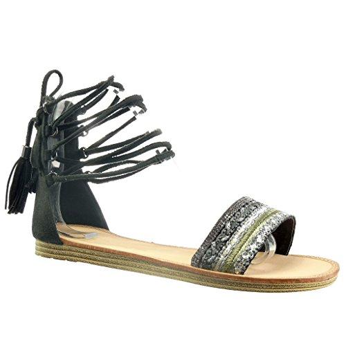 Angkorly - Zapatillas de Moda Sandalias gladiator mujer fleco pompom strass Talón tacón plano 1 CM - Negro