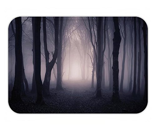 Beshowere Doormat Farm House Decor Path Through Dark Deep in Forest with Fog Halloween Creepy Twisted BranchePicture for Bedroom Living Room Dorm Pink and (Halloween Weather Nashville)