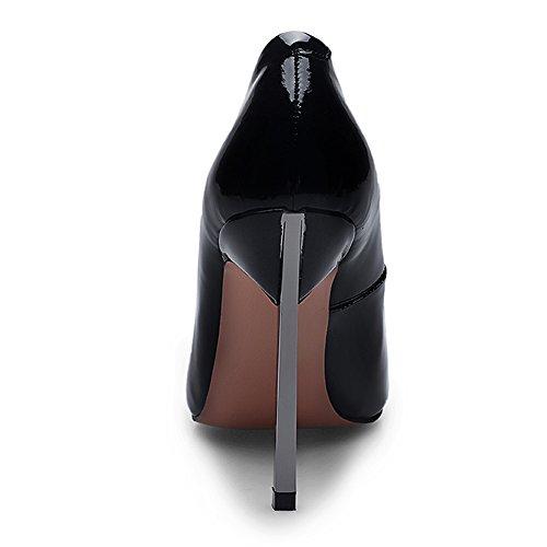 Minivol Metalen Klampen Stilettos Dames Hoge Hakken Pumps Schoenen Zwart Suède
