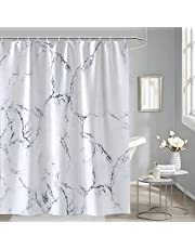 HiZZ 72 x 72 Inch White and Grey Marble Shower Curtain Sets with Hooks, Bathroom Fantastic Decorations Waterproof Mildew Resistant Polyester Fabric