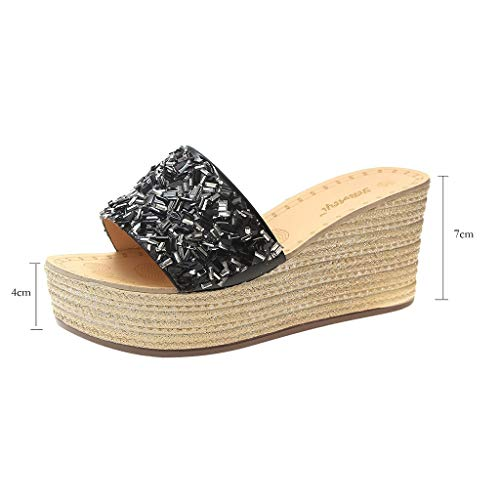 Farmerl Women Retro Ethnic Wind Embroidery Flowers Wedge Beach Shoes Slippers]()
