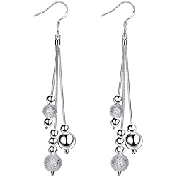 Foreverstore Jewelry Womens 925 Sterling Silver Plated Multi-Bead Threaded Dangling Long Dangle Drop Earrings