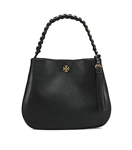 Tory Burch Brooke Leather Hobo Shoulder Bag (Black) by Tory Burch
