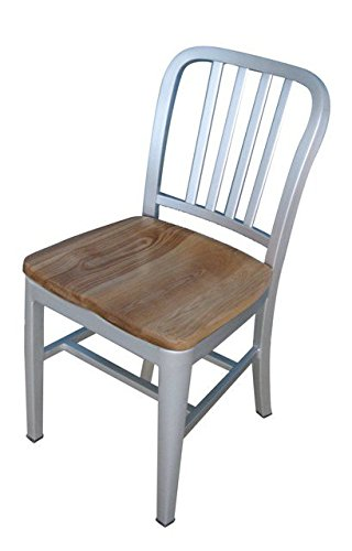 Alston Quality 3013 Aluminum Dining Chair With Natural Wood Seat