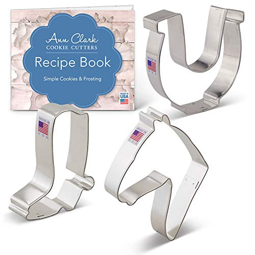 Western Horse/Cowboy Cookie Cutter Set with Recipe Booklet - 3 piece - Horse Head, Cowboy Boot and Horseshoe - Ann Clark - USA Made Steel
