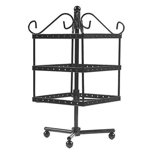 Lx10tqy 72 Holes Metal Durable Jewelry Rack Necklace Holder Organizer Rotary Display Stand Decor Black Round