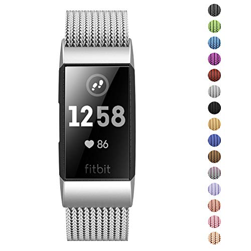 Fitlink Stainless Steel Metal Replacement Bands for Fitbit Charge 3 and Charge 3 SE for Women Men,Multi Color Multi Size(Silver,Large(6.1 ''- 9.9''))