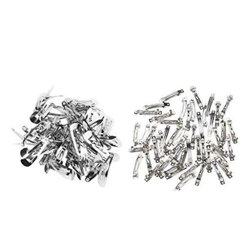 100x Silver Metal Snap Hair Clips DIY Baby Girl Hair Bow Barrettes 20mm -
