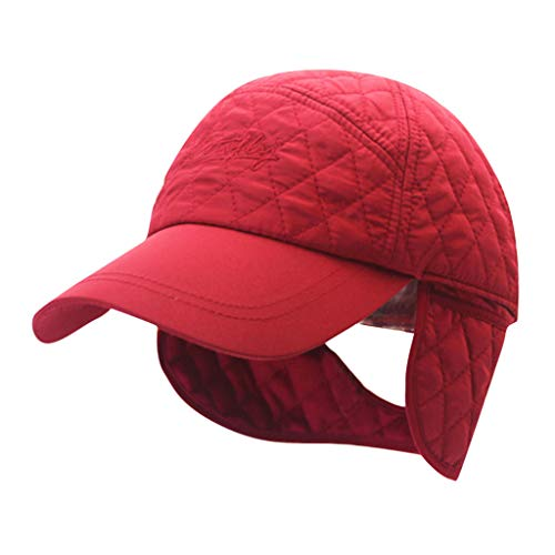 Ganenn Unisex Winter Outdoor Hat with Brim Earflap Ponytail Hole Fitted Hat Faux Windproof Baseball Cap (Red)