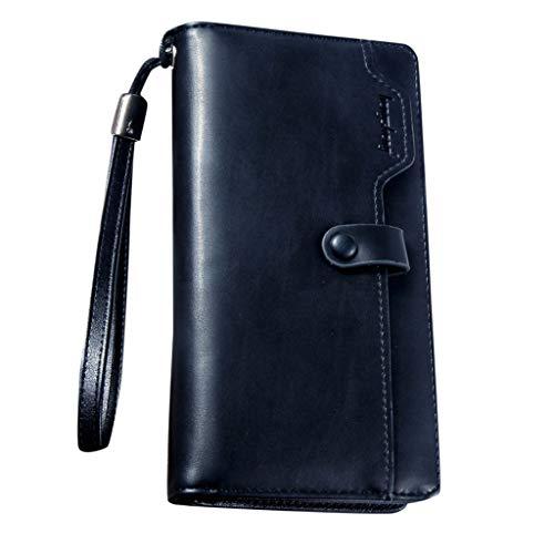 (Men's Wallet,PAQOZ Retro Zip Wallet Solid Color Clutch Long Wallet Multi Card Wallet)