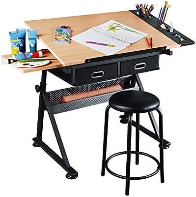 Dawoo Mesa de Dibujo de Teca Mesa de Dibujo lámpara de Mesa ...
