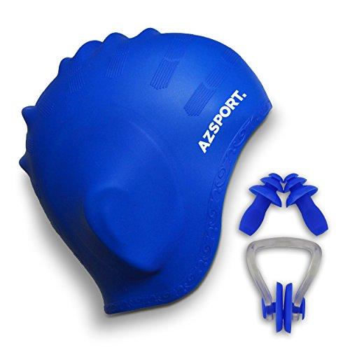 AZSPORT Bonnet de Bain, Clips de nez et Bouchons D'oreille Inclus, Bleu