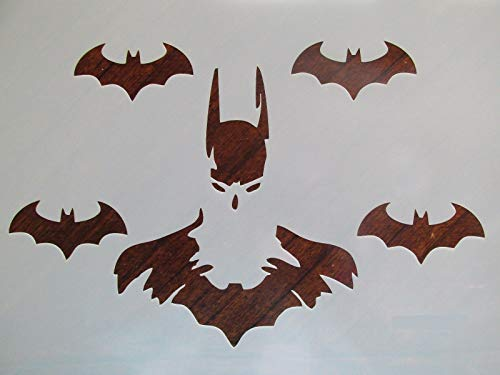 Stencil Reusable Batman with Bat Friends 10 mil Mylar Laser Cut for Painting on Wood, Art Craft, Airbrush, 11
