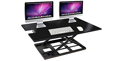 High Point Furniture Pedestal Desk - Innovadesk Adjustable Standing Desk Converter 38-24 inches-High Adjustable Desk - Convertible Standing Desk - Laptop Desk Riser- The Best Adjustable Standing Desk Riser- Desk Standing Wide (Black)