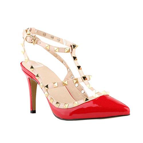 Rivet Talons A Talons Femme Fermé Décoration Bout WanYang Hauts Aiguilles Chaussure Rouge wqCFXZ