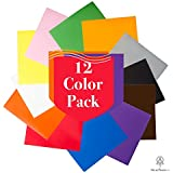 "Heat Transfer Vinyl Iron On Premium Bundle, 12 Pack 12""x10"" Easy to Weed HTV for T-Shirts"